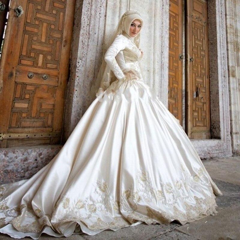 White Satin Plus Size Hijab Wedding Dresses Muslim 2017