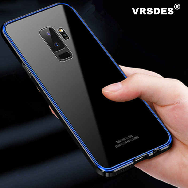 VRSDES Metal Bumper Case For Samsung Galaxy S9 Plus S8 Note 9 Hard Clear Tempered Glass Mirror Armor Cover s9plus S9 Note9 Case