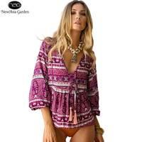 New Tie V Neck Lantern Sleeve Cotton Women S Floral Blouse Top Boho Print Summer Spring