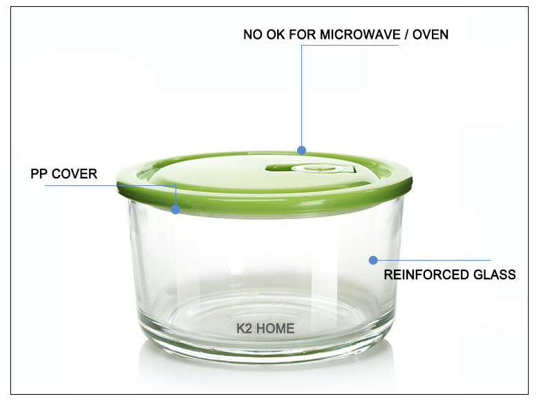 Premium Meal Container Glass Lunch Bento Box Food Prep Freezer Containers Lunch Containers Food Storage Round Box Clear 3