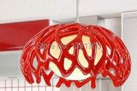 Diámetro 35 cm lámpara pendiente moderna resina y cristal colgante luz moderno diseño color blanco rojo salón comedor nido