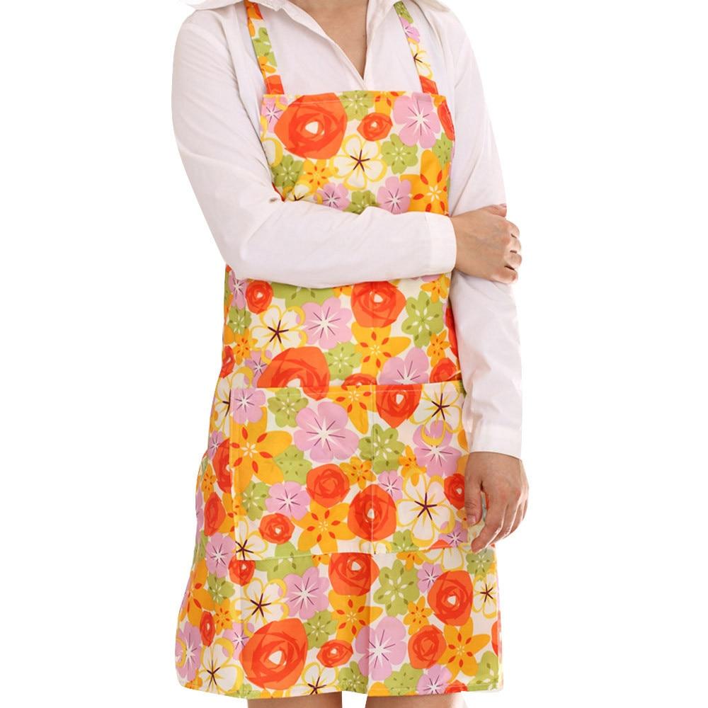 Blue apron dress - Women Dress Restaurant Home Kitchen Cooking Apron Bib Floral Pattern Precise Blue Pink Orange