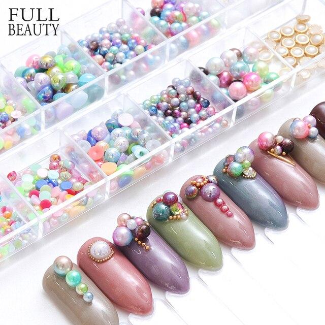 Full Beauty Glitter Mermaid Nail Decorations Mixed Size Gradient Magic  Beads Pearl Charms Stone 3D Tips Rhinestone Set CHHCP 18fa46a6de46