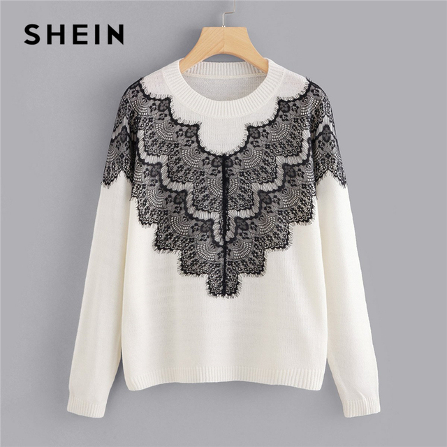 86f3ce83f87 SHEIN White Casual Preppy Soft Knit Sweater With Contrast Lace Panel  Pullovers Sweaters Autumn Campus Elegant Women Sweaters