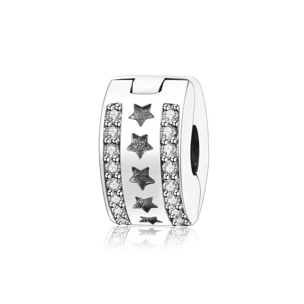Phù hợp với Gốc Pandora Quyến Rũ Vòng Đeo Tay 925 Sterling Silver Stopper Beads Sao Clip Khóa Châu Âu Bead Vòng DIY Đồ Trang Sức Berloque