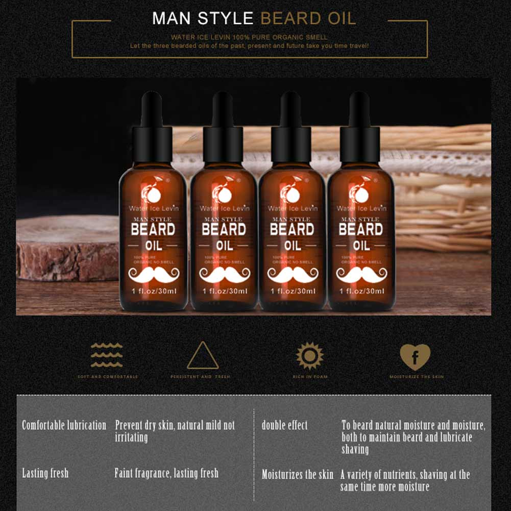 30ml Men Beard Oil for Styling Smoothing Mustache Growth Care Conditioner Softener Facial Grooming Gentle Men Beard Beauty Care 2