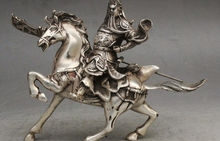 8″ China Fengshui Silver Riding Horse Guan Gong Yu Warrior God Grip Knife Statue