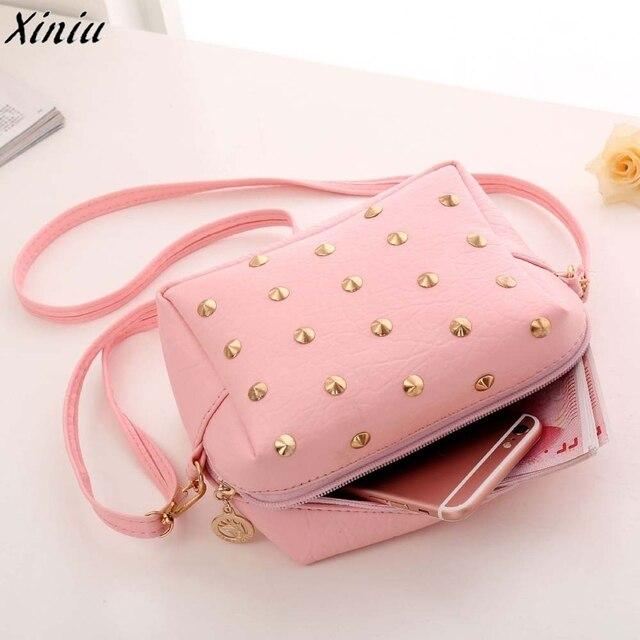 Women Cute Messenger Bags Rivet Pink Color Leather Shoulder Bag Girl Fashion  Design Handbag Bolsas De Ombro  7726 cc8b0fb4ad22d