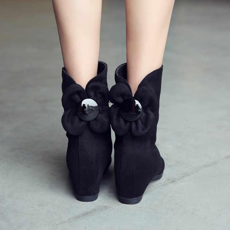 ฤดูใบไม้ร่วงและฤดูหนาว bow รองเท้าลิฟท์ 2017 สั้นรองเท้าเดียวรองเท้ารองเท้าส้นสูงฤดูหนาวหญิง
