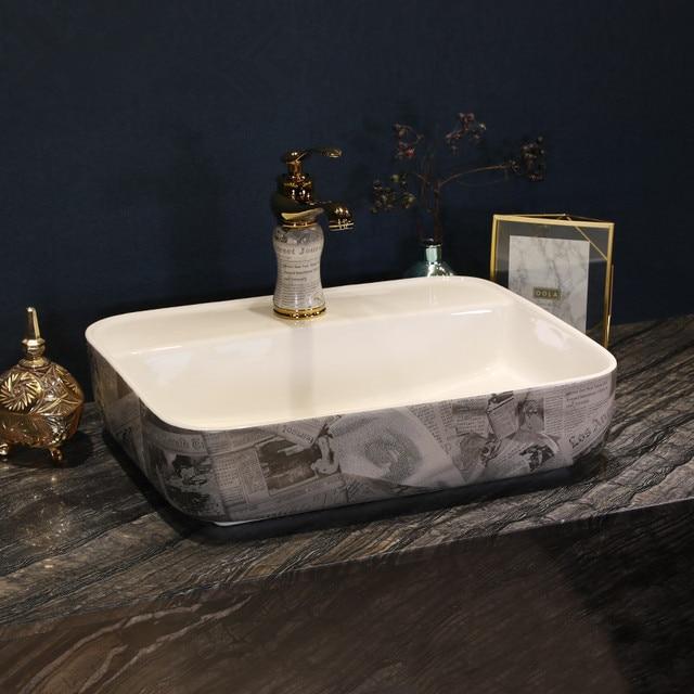 Rectangulaire Antique Luxe Salle De Bains Vanités Art Chinois Comptoir En  Céramique Couleur Lavabo Salle De