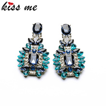 KISS ME Statement Trendy Jewelry Elegant Shiny Resin Stone Blue Plant Stud Earrings Factory Wholesale