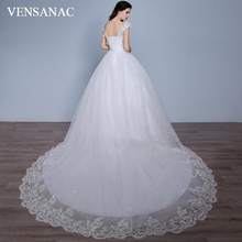 VENSANAC 2018 Crystal V Neck Ball Gown Lace Appliques Court Train Wedding Dresses Sequined Sash Backless Bridal Gowns
