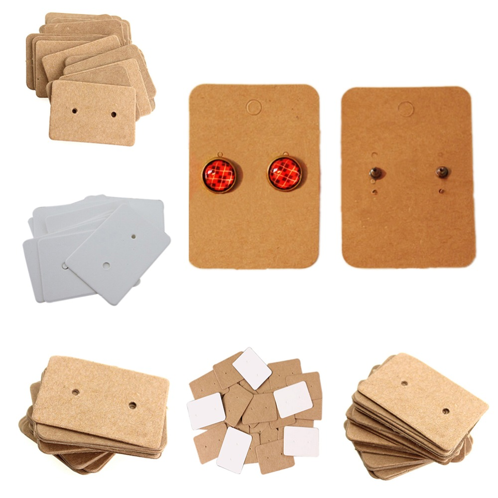 100Pcs Blank Kraft Paper Ear Studs Card Hang Tag Jewelry Display Earring Marking Garment Prices Label Tags 2.5x3.5cm
