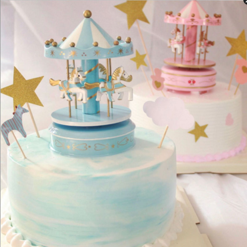 DIY Music Box Baby Party Colorful Carousel Cake Decoration Wedding