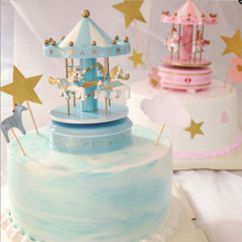 DIY Music Box Baby Party Colorful Carousel Cake Decoration Wedding Happy Birthday Party Lovely Children Gift party decoration