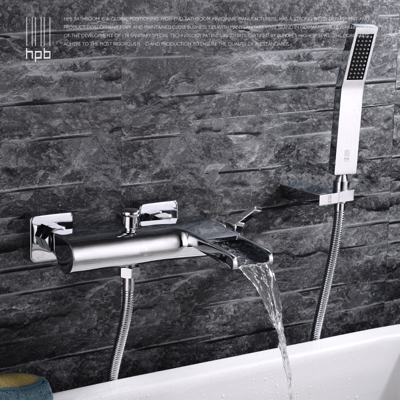 HPB Brass Waterfall  Wall Mounted Bathroom Bath Tub Faucet Mixer Tap Cold Hot Water taps Chrome Handheld Shower Head HP5009 free standing waterfall bathroom tub faucet chrome brass mixer tap w hand shower