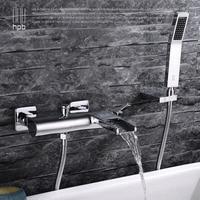 Luxury Antique Style Gold Color Bathroom Clawfoot Bath Tub Faucet Ceramic Handle Handheld Shower Head Faucet