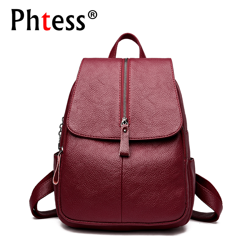 2018 Women Soft Leather Backpacks Female Travel Large Capacity Backpack Mochilas Ladies Bagpack Designer High Quality Back Pack