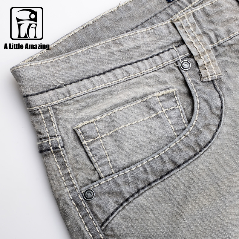 A LA MASTER Brand Men Jeans Pants Cotton Old Elasticity Full Mens Pants Jeans Spring Summer Casual Pleated Jeans for Mens