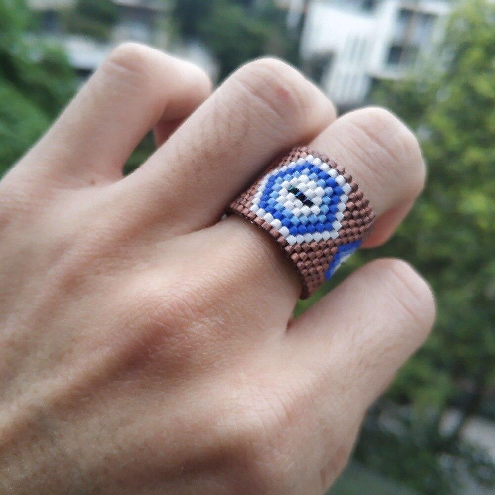 Go2boho MIYUKI Ring Turkish Evil Eye Men Women Anillo Mujer Brown Delica Jewelry Lucky Rings Handmade Gift