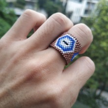 Go2boho MIYUKI Ring Turkish Evil Eye Men Women Anillo Mujer Brown Delica Jewelry Lucky Rings Handmade Gift