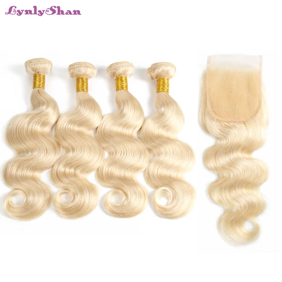 613# Color Blonde Bundles With Closure 100% Remy Hair Indian Body Wave Human Hair 4 Bundles with 4X4 Lace Closure Lynlyshan