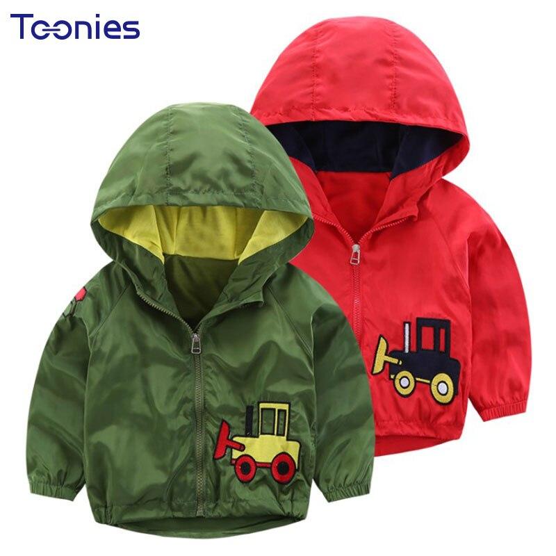 Демисезонный для маленьких мальчиков плащ с капюшоном мультфильм печатных куртка для девочек хлопок с длинным рукавом детей Костюмы Детск...