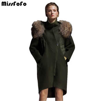 MissFoFo 2019 New Fashion Parka Winter Jacket Large Fur Collar Wool Outerwear down patchwork women's winter woolen overcoat - DISCOUNT ITEM  0% OFF All Category