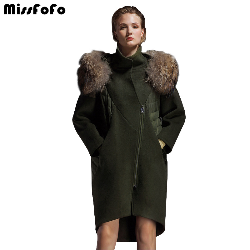 MissFoFo 2019 Nova Moda Parka Jaqueta de Inverno Grande Gola De Pele De Lã Outerwear patchwork para baixo casaco de lã de inverno das mulheres