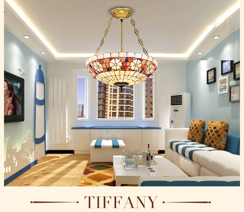 Européen Tiffany art lampe coquille lampe lustre lampe lustre lustre Waratah anti chambre salle à manger