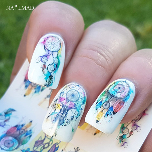 12sheets Pack Dreamcatcher Nail Water Decals Feather Art Transfers Sticker