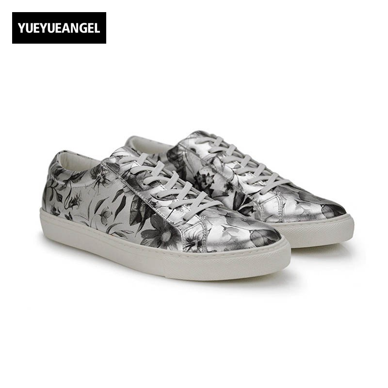 Harajuku Floral Printed Real Leather Shoes Men Personality Comfort Casual Male Footwear Classic Lace Up Loafers Chaussure Homme недорго, оригинальная цена