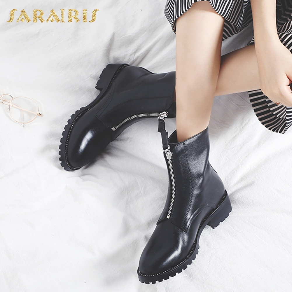 SARAIRIS 2018 Genuine Cow Leather Hot Sale Large Size 33-42 Zip Up Fashion Shoes Woman Boots Female Ankle Boots Women ShoesSARAIRIS 2018 Genuine Cow Leather Hot Sale Large Size 33-42 Zip Up Fashion Shoes Woman Boots Female Ankle Boots Women Shoes