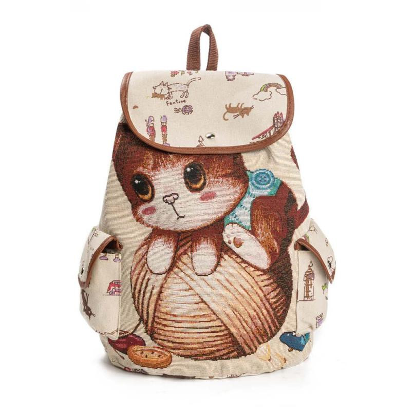 Women Drawstring Backpack Cute Cat Printing Canvas Rucksacks For Girls Large Schoolbag Backpack For Shopping Travel Bag Rugzak#D