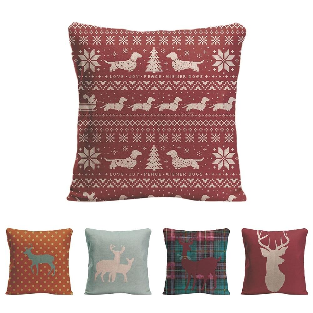 Love Joy Peace Wiener Dog Cushion Cover Decorative Pillow