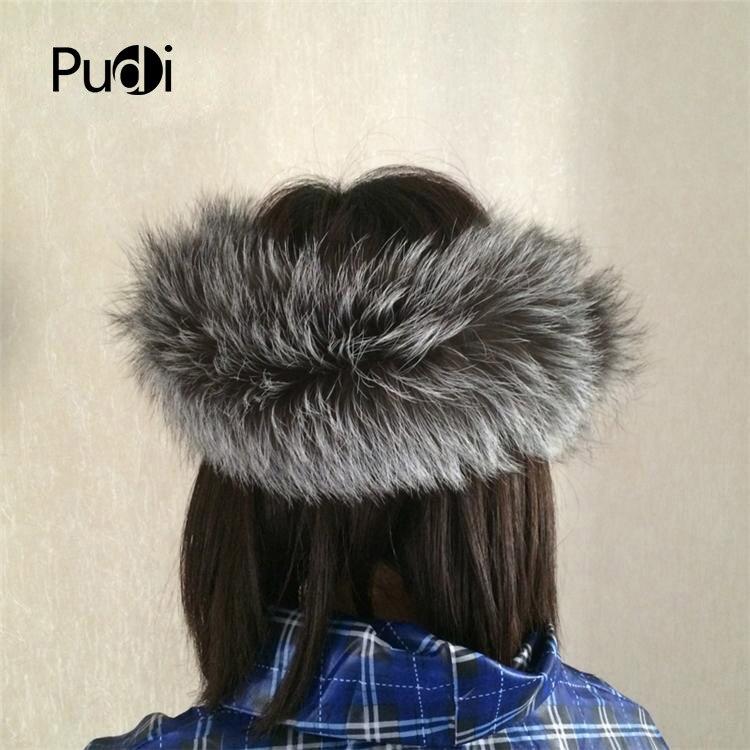 HF001 Fashion real silver fox fur headband headbands women child customized size adjsutable
