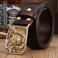 Retro laiton macizo boucle de ceinture cinturones de dragón para los hombres pantalones vaqueros de la correa de grano completo de cuero genuino café cinturón faja 120 cm