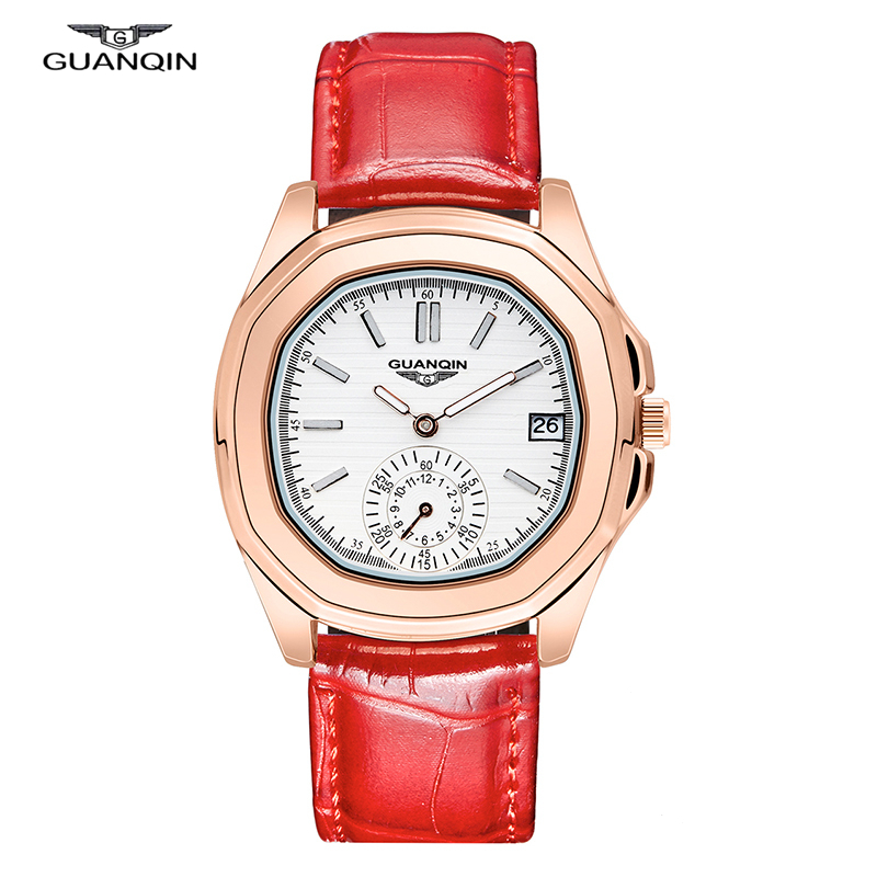 Watch Women Top Brand Luxury GUANQIN Big Dial Female Fashion Simple Quartz-Watch Waterproof Reloj Mujer 2016 Relogio Feminino shengke top brand luxury watch woman fashion steel quartz watch female monterrey woman watch relogio feminino reloj mujer 2017