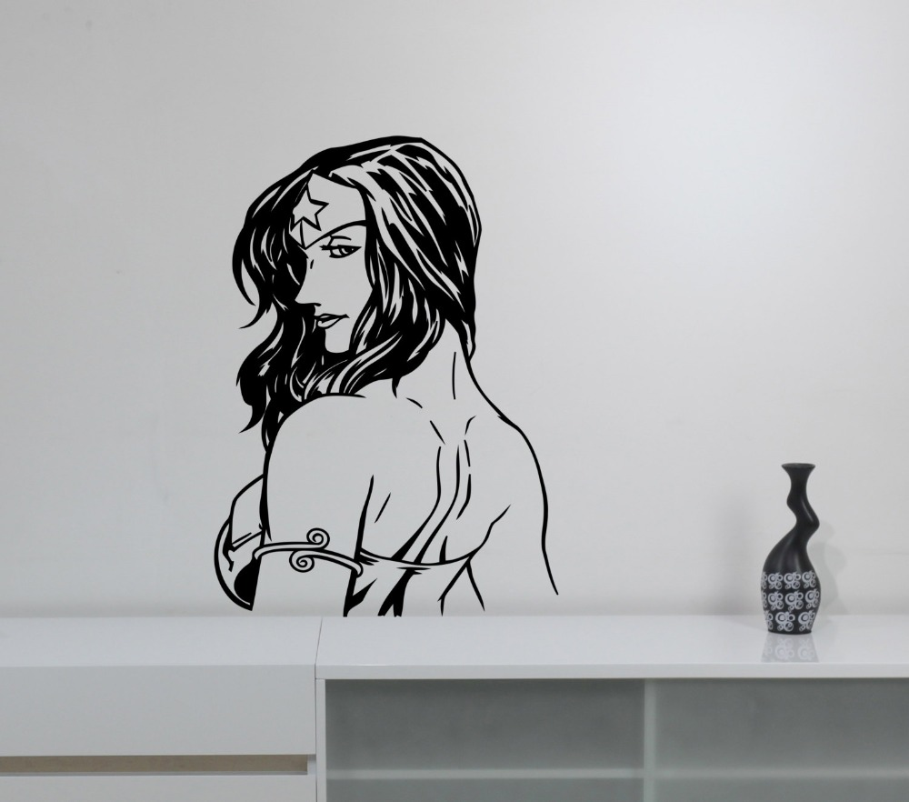 Idee Deco Chambre Garcon Super Heros superhero woman wall decal cool wonder girls marvel comics wall stickers  for kids rooms teens bedroom interior decor muralsyy898