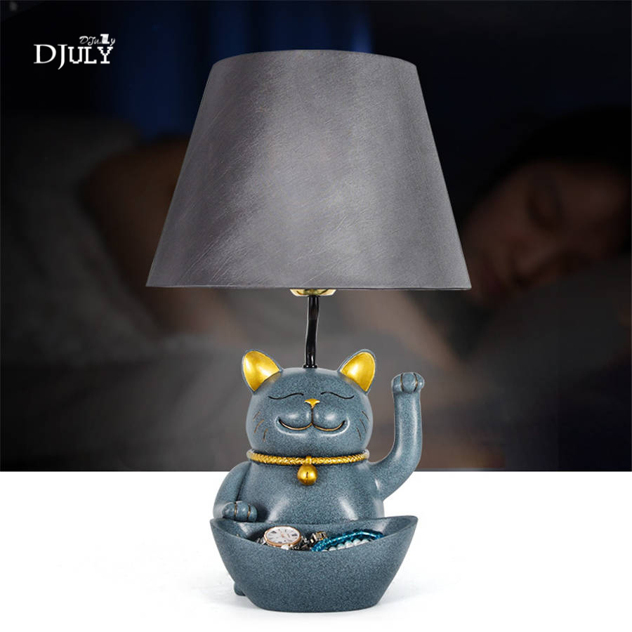 creative Lucky Cat Storage Box table lamp for living room study lovely children bedroom lamp romantic home deco led table lightcreative Lucky Cat Storage Box table lamp for living room study lovely children bedroom lamp romantic home deco led table light