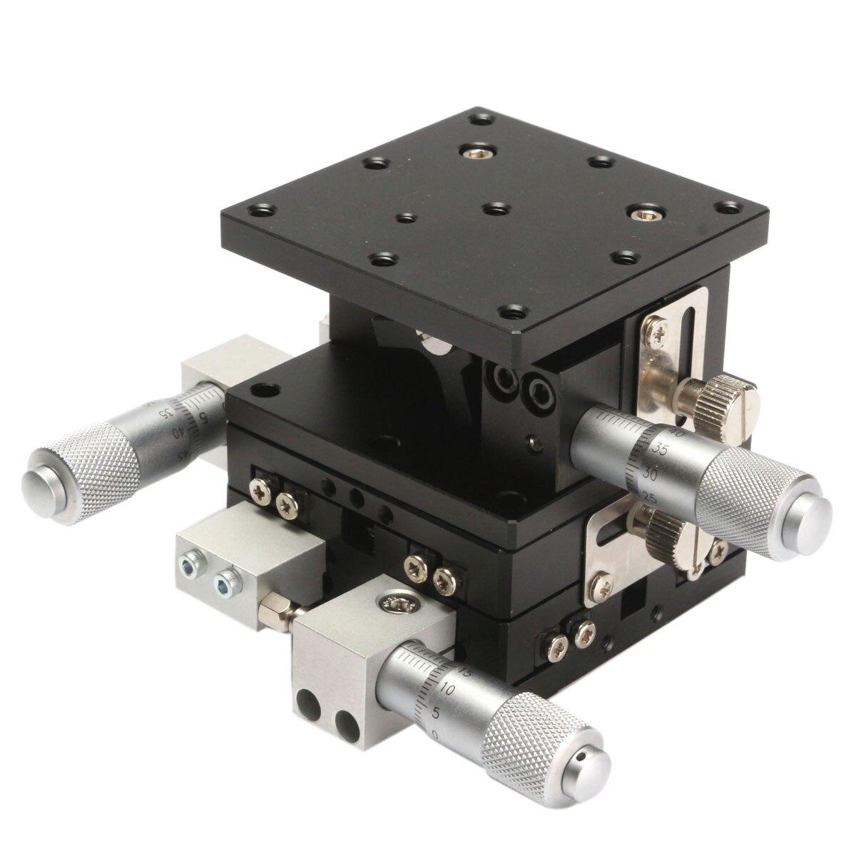XYZ 60 3-Eixo x 60mm Recorte Plataforma Fase Linear Ajustável Plataforma de Deslocamento Manual Tabela de Deslizamento