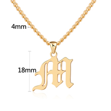 DUOYING Old English Style Custom Capital Initial A-Z Letter Pendant Necklaces Beauty Vintage Font Personalized Necklace for Etsy