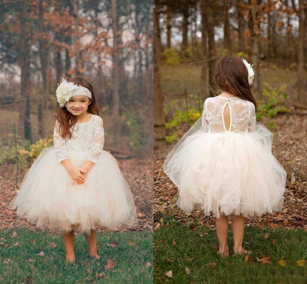 White/ivory Long sleeves open back lace knee-length flower girl dress puffy ball gown tulle first communion gowns new white ivory flower girl dresses for wedding 3d flowers puffy tulle with big bow girls first communion gowns