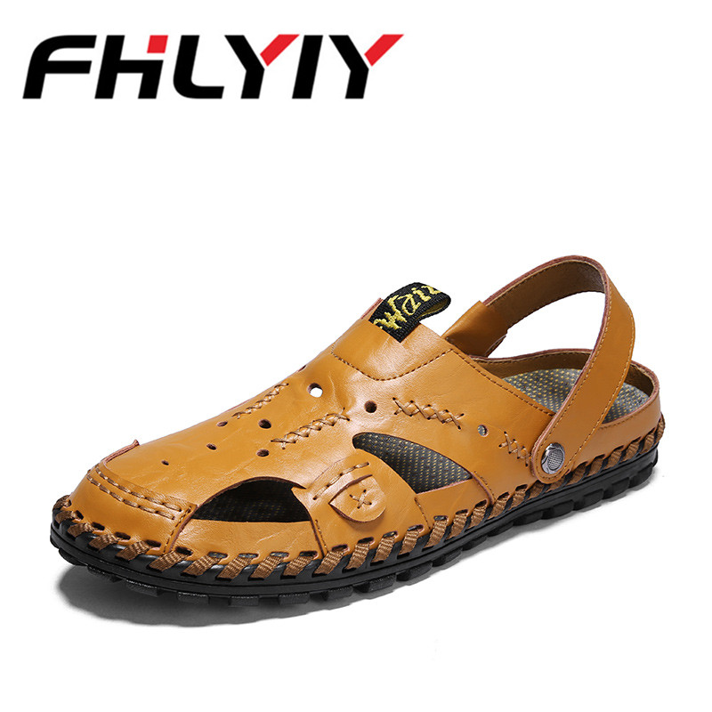 Genuine Leather Summer Soft Male Sandals Shoes For Men Breathable Beach Casual Quality Walking Sandal Out Gladiator Slippers