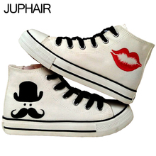 JUP Men Males Student Girls Couples Moustache American Hero Love Despicable Me Minion Hand Painted Graffiti Canvas Gift Shoes
