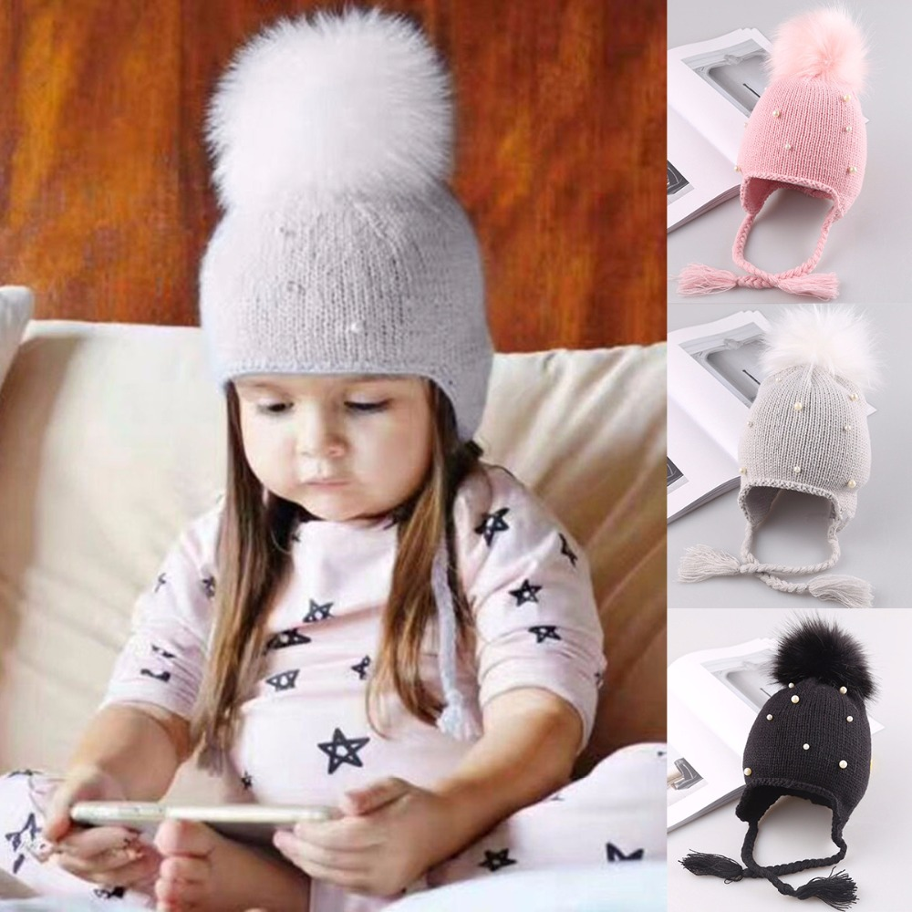 Styling Tools Black Family Children Knitting Yarn Winter Warm Hat Pink/wine Red/khak/beige/grey Double Pom Pom Furn Ball Knit Crochet Hat Caps Beauty & Health