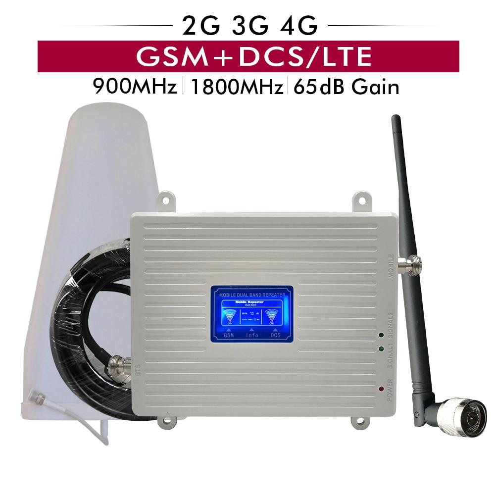 65dB Gain Dual Band Booster GSM 900 DCS/LTE 1800 2G 3G 4G Mobile Signal Repeater cellular Verstärker Vollen Satz mit Antenne Kabel-in Signal-Booster aus Handys & Telekommunikation bei AliExpress - 11.11_Doppel-11Tag der Singles 1
