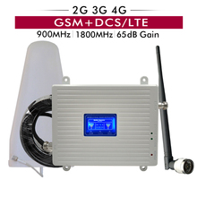 65dB Gain Dual Band Booster GSM 900 DCS/LTE 1800 2G 3G 4G Mobile Signal Repeater Cellular Amplifier Full Set with Antenna Cable