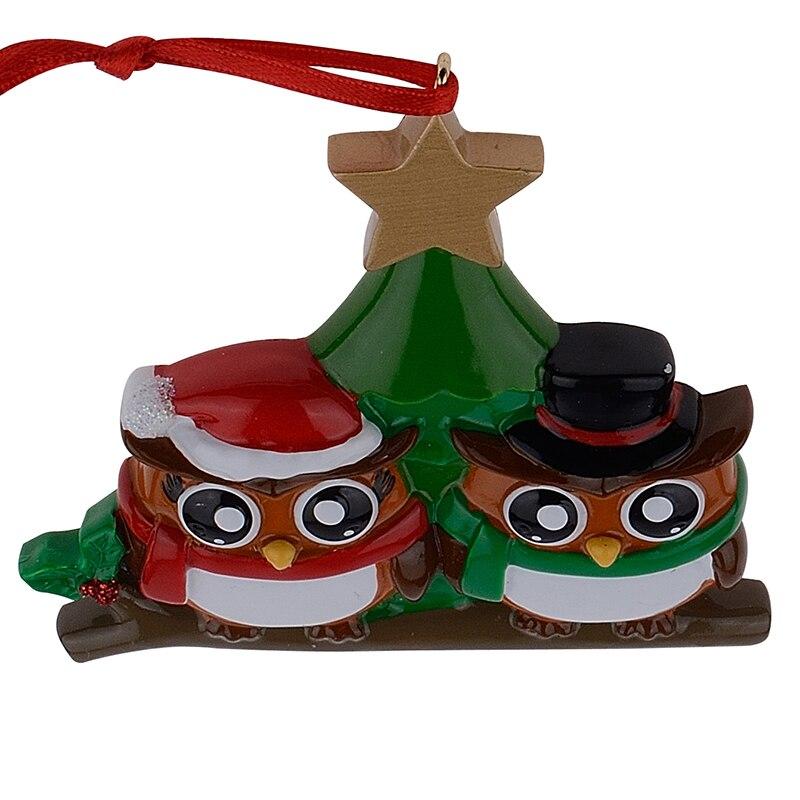Familia de búhos de 2 adornos navideños personalizados de brillante - Para fiestas y celebraciones - foto 6