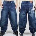 Граффити письма мужчин мешковатые джинсы мужская хип-хоп джинсы длинные широкий мода скейтборд багги расслабленной форме джинсы уличный танец брюки